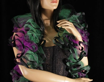 Joker Tulle tie on shoulder shrug wrap purple green black trimmed gothic formal wedding dance bridal cosplay costume -- Sisters of the Moon