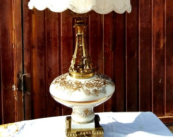 TALL VINTAGE LAMP. Mid-century, Hollywood Regency, Glass Globe Lamp. Antique, Tall, White and Gold Table Lamp.