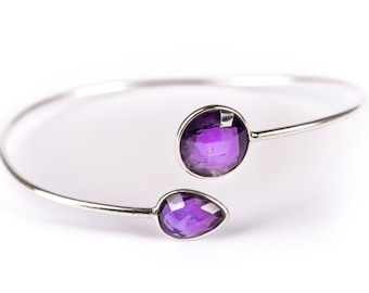 Dainty Amethyst Gemstone Sterling Silver Cuff Bracelet Adjustable Gift Boxed + Giftbag + Free UK Delivery