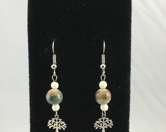 Petite Tan Earthy Ceramic & Stainless Steel Tree of Life Charm Dangle Earrings