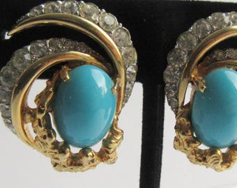 Joseph Mazer Jomaz Clip on Earrings Blue Stones