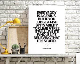 Everybody Is A Genius - Albert Einstein Poster Print Wall Art Decor