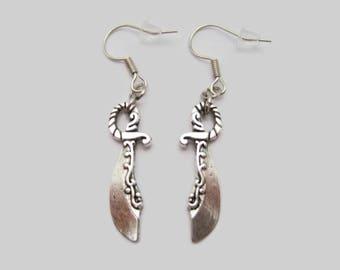 Sword Earrings Silver Sword Earrings Medieval Earrings Sword Jewelry  Sword  Earrings  Gifts Under 20