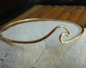 Gold Wave Bangle Bracelet Made in Hawaii