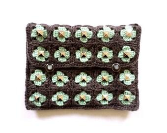 Green gray studded crochet pouch