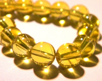 40 glass beads wire - 8 mm-yellow - Pearl glass round G18 6