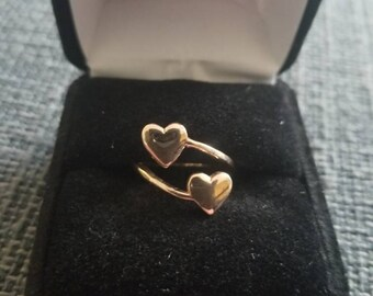 10k Gold Double Heart Ring