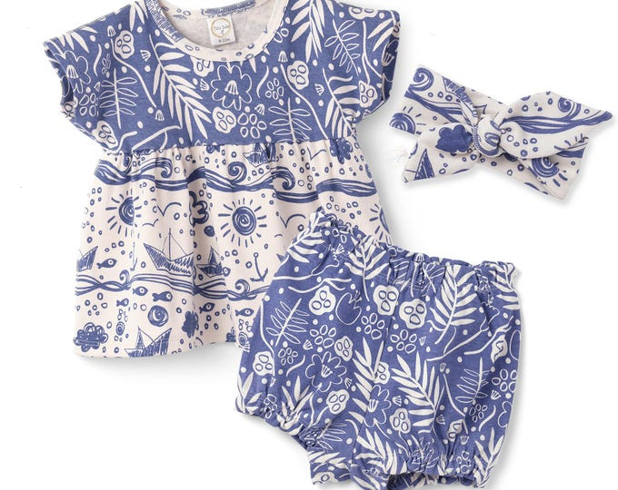 SALE!Baby Girl Summer Outfit, Baby Girl Top and Bloomers Set, Baby Girl Bloomers, Blue Floral Bloomers, Baby Girl Navy Outfit, Tesa Babe