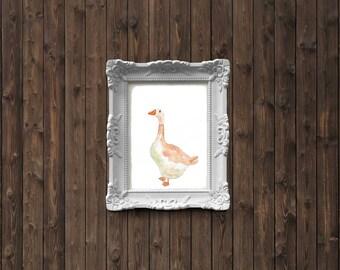 Goose Watercolor Painting - art print