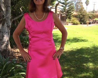 "Spring Fling Vintage Hot Pink Satin 1960's ""Eve Le Coq"" California Dreaming Dress"