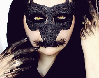 Steampunk black lace raven bird mask