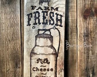Wood Sign/Fresh Milk/Farmhouse Wall Decor/Country Home Decor/ Rustic Home Decor/ Reclaimed Wood/Cow/Handmade/Milk Can/Kitchen Wall Decor