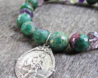 Saint Christopher, Ruby Fuchsite and Purple Amethyst, Stretch Bracelet, Signed French Antique Catholic Medal, Religious Jewelry, Travel