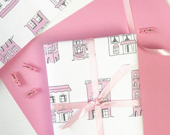 Wrapping Paper, PINK HOUSES Gift Wrap, Cute Gift Wrap, Pink Wrapping Paper, Birthday Gift Wrap, Gift Wrap for Her, New House gift