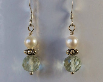 green amethyst pearl dangle earrings February birthstone beaded jewelry gifts for women bridal jewelry gemstone earrings handmade jewelry