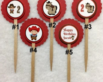Set Of 12 Personalized Cowboy 2nd Birthday Party Cupcake Toppers (Your Choice Of 12)
