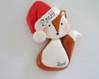 Personalized  Christmas Fox Ornament