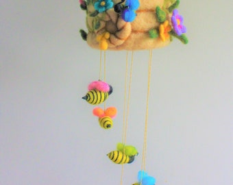 Felted Bee Hive Mobile, Needle felted, Honey Bees with Wildflowers, Rainbow Colors, Nursery Decoration