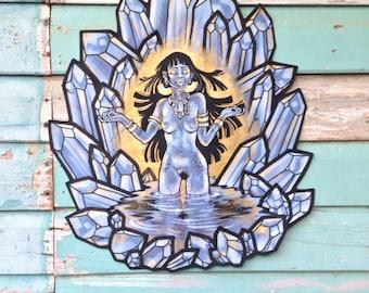 Golden Blue Goddess Crystal Wallhanging
