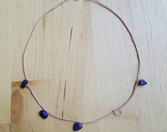 Silk choker necklace with lapis and pink tourmaline