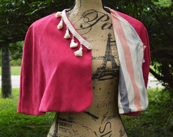 HANDMADE--Raspberry Pink BOHO Capelet with Ivory Tassel Trim, Size Medium, One-of-a-kind