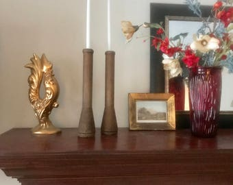 Wooden Spool Candlestick Holders