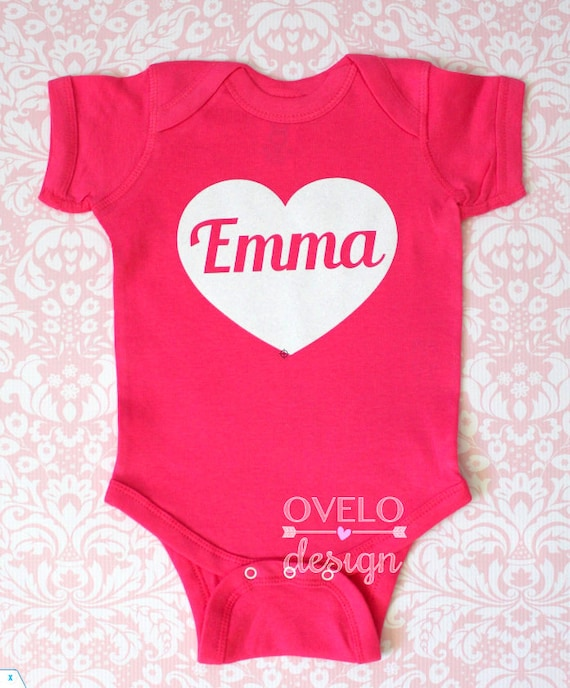 Personalized Valentines Day Heart with Custom Baby Name inside printed in White Glitter