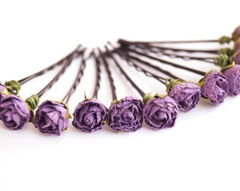 Bridal Hair Accessories, Lavender Rose, Lilac flower Hair Bobby Pin-set 12