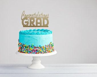 Graduation Cake Topper - Congrats Grad Cake Topper - Class of 2018 Cake Topper - Graduation Topper- Graduation Party Decor - Class of 2018