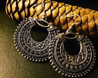Bohemian Antique Earrings, Intricate Turkish designer Oxidized Earrings, Gypsy vibe, Indie Jewelry