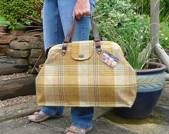 Carpet Bag, Weekender Bag, Mary Poppins Bag, Duffle bag, Travel Bag, Hand Luggage, Mustard Tweed Bag with Real Leather handles