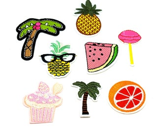 Set of 8 patches heat-sealed theme Sweet exotic badge embroidered Palm tree, pineapple, watermelon