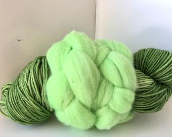 Thrummed SLIPPER SOCK kit - Green/Bright green- Hand dyed Merino yarn and roving Pattern included