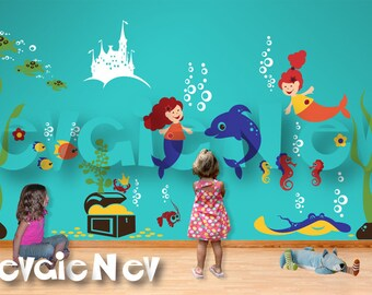 Under the Sea Nursery Wall Decals - Mermaids, Underwater Castle, Dolphin, Octopus, Stingray, Sea Turtles, Crabs & Treasure Chest - PLMRM070