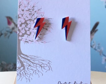 David Bowie Inspired Ziggy Stardust Lightning Bolt Stud Earrings - Digitally Drawn Plastic Earrings on silver plated stud earrings