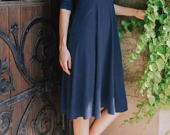 Adèle classique robe col en v - bleu marine - vêtements modestes de mode - midi robe - vêtements haut - modal - printemps - modeste robe