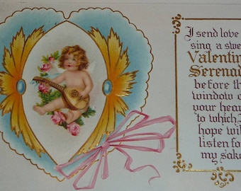 Little Cupid Playing Mandolin - A Valentine Serenade Antique NASH Postcard