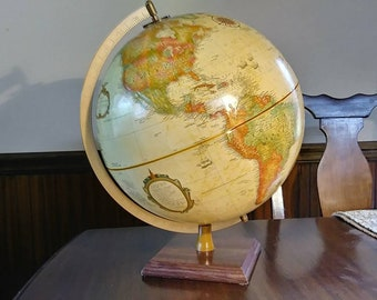 "Vintage Replogle World Classic Series Tan 12"" Globe with Metal Meridian"