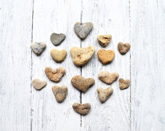 Set of 16 Heart Shaped pebbles Romantic sea stone gift for her Unique Sea rock Beach Wedding Card Romantic Home decor Natural Craft supply