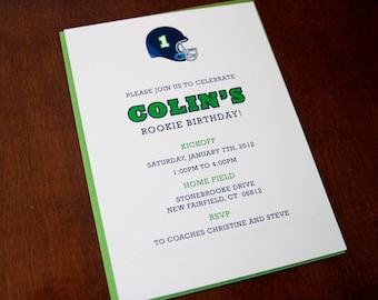 "Football Birthbay Party Invitation - ""Quarterback"""