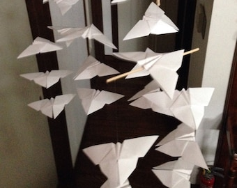 "22 Large Origami Butterflies Mobile - Pure White, 22 butterflies, 6"" Solid Japanese Origami, Nursery Decor, Home Decor, Baby Mobile, Nursery"