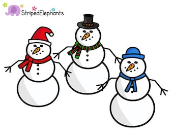 Christmas Snowman Clipart 2 - Instant Download - Commercial Use
