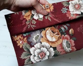 Handmade vintage style floral clutch bag