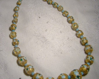 Murano Blue and Gold Edwardian Art Glass Necklace 1900 1910