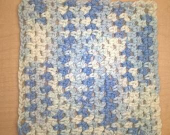 Blue and white washcloth
