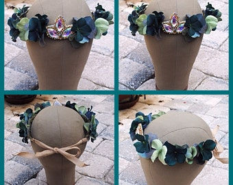 Teal Green Floral Flower Crystal Vine Crown Headband Boho Headpiece