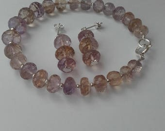 ametrine faceted rondell bracelet with matching drope earrings