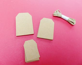 30 tags blank geometric Brown kraft 3 sizes 3 m cord labels