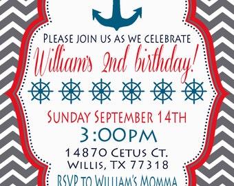 Anchors Away Birthday Party Invitaiton- Red, blue, gray
