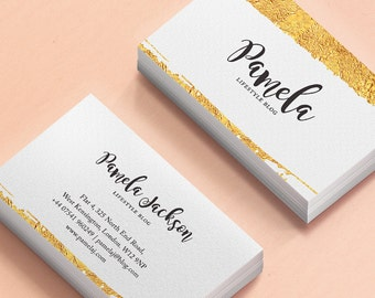 Business Card Design - Premade Business Card Template - Elegant gold foil Business Card - Wedding Planners Business Card - Business Card